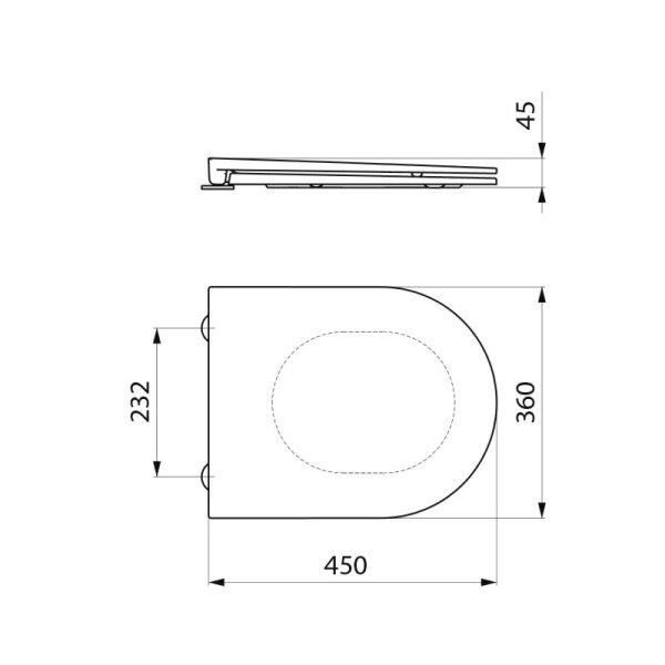 WC-Sitz Slim S21/700 schwarz Duroplast mit Deckel