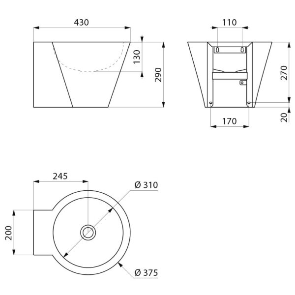 Waschtisch MINI BAILA ohne Hahnloch ohne Überlauf Edelstahl 1.4301 satiniert