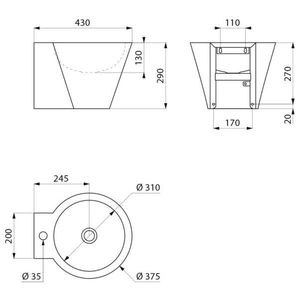 Waschtisch MINI BAILA Hahnloch D35 mittig ohne Überlauf Edelstahl 1.4301 satiniert