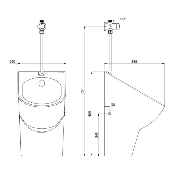 Urinal-Set EASY-D Keramik m. Urinalsp. TEMPOSOFT2 Anschl.ob.
