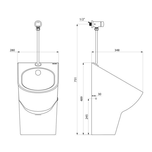 Urinal-Set EASY-D Keramik m.Urinalsp. TEMPOSOFT2 Wandanschl.