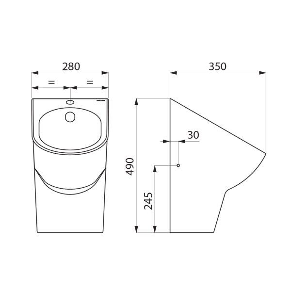 Urinal DELTACÉRAM wandh. Anschl. von oben Keramik