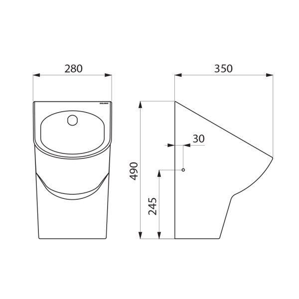 Urinal DELTACÉRAM wandh. Anschl. von hinten Keramik