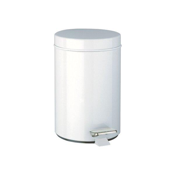 Abfallbehälter rund mit Pedalbetätigung 3 l Edelstahl weiß