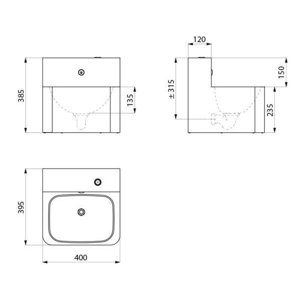Waschtisch TEK wandhängend mit integrierter Armatur Edst. 1.4301 satiniert