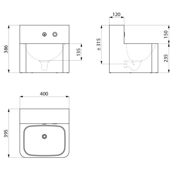 Waschtisch TEK wandh. mit integr. elektron. Armatur Edst. 1.4301 satiniert