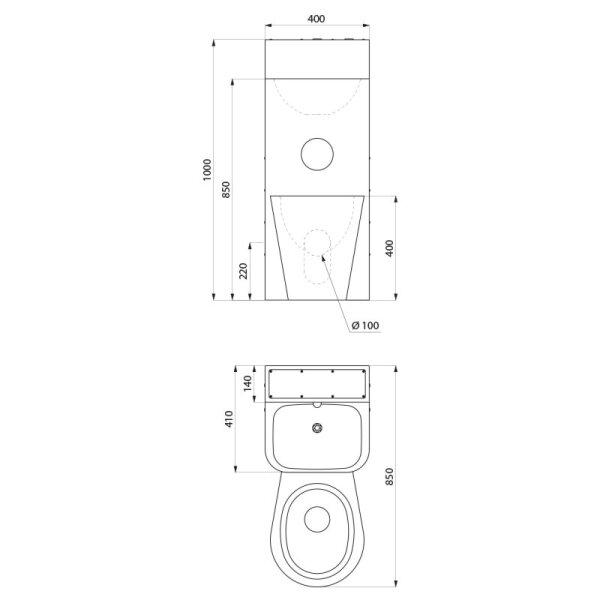 Gef.Kombi KOMPACT mit Spülkasten WC bodenstehend mittig Edst.1.4301 satiniert