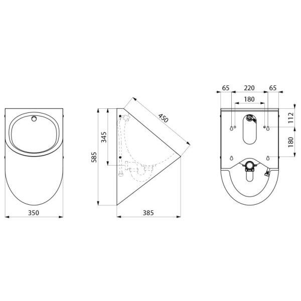 Urinal DELTA HD wandhängend Anschluss von hinten Edst. 1.4301 satiniert