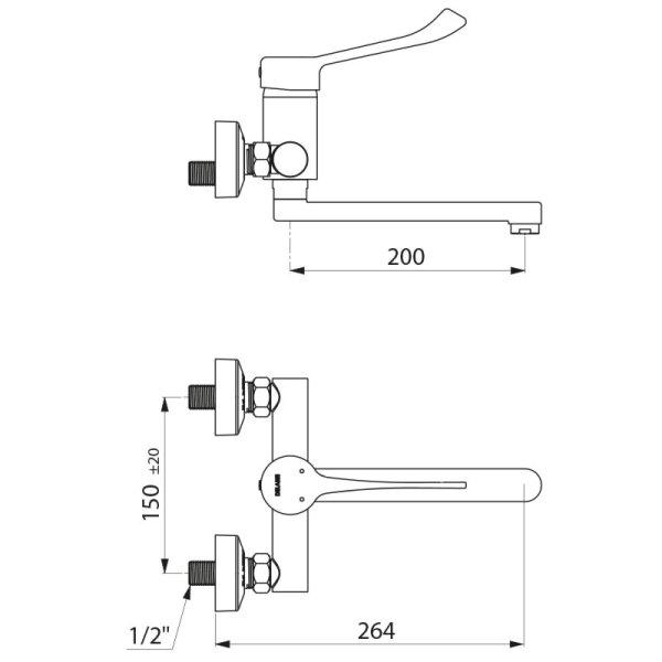 Einhebelmischer Wandmontage Securit. Auslauf fest L.200, Hygienehebel, STOP/CHECK