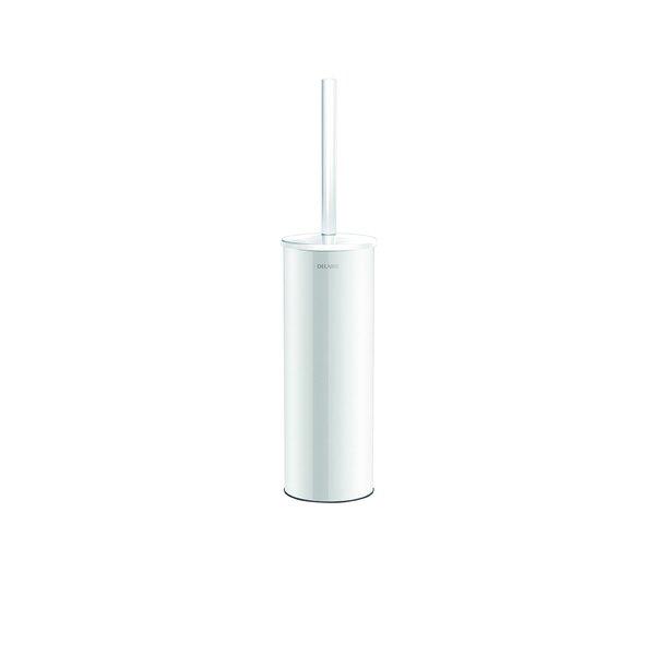 WC-Bürstengarnitur Stand-Montage mit Abdeckung Edelstahl pulverbeschichtet weiß