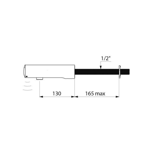 Ventil TEMPOMATIC 4 G1/2B Waschtisch Hinterwandmontage 6V-Batterien L.130