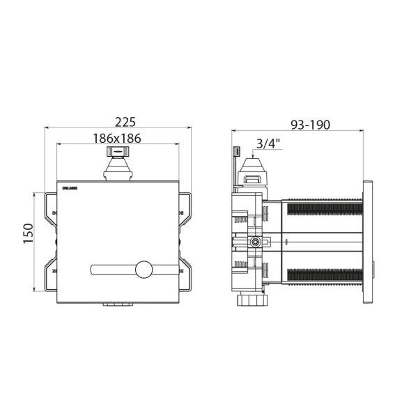 "TEMPOMATIC WC 3/4"" duale Strg. Unterputz 6V-Batt. Set 1/2(+464006)"