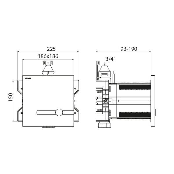 "TEMPOMATIC WC 3/4"" duale Strg. Unterputz 230/6V Set 1/2 (+464000)"