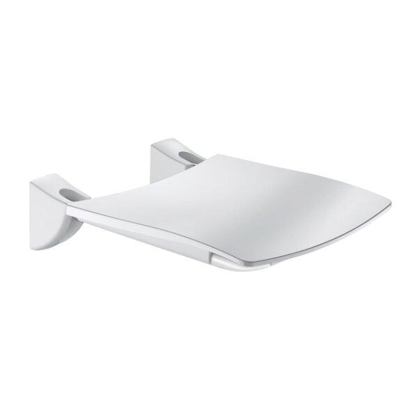 Duschsitz Komfort hochklappbar Edelstahl pulverbeschichtet weiß