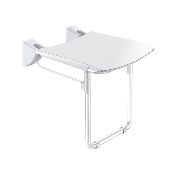 Duschsitz Komfort hochklappbar mit Fuß Edelstahl pulverbeschichtet weiß