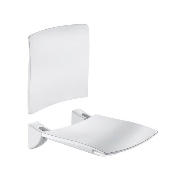 Duschsitz Komfort klappbar m.R-Lehne Edst. pulverbesch. weiß