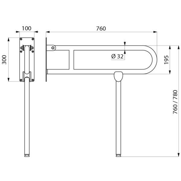 Stützklappgriff mit Fuß Basic D32 L760 pulverbeschichtet weiß