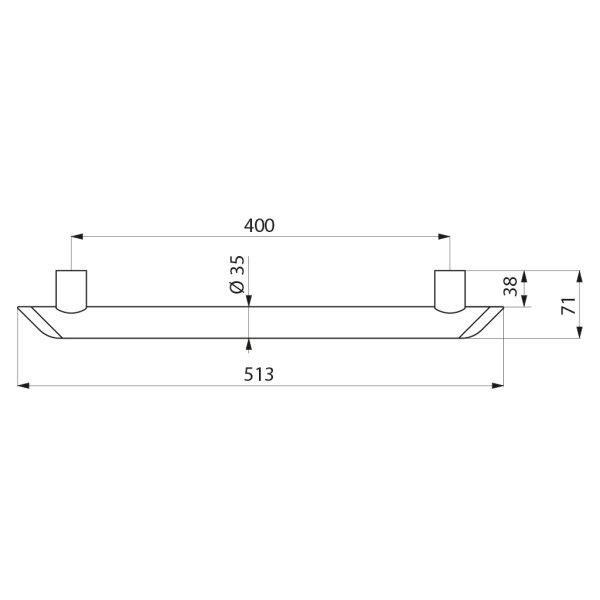 Haltegriff Be-Line  D35 L.400 Aluminium weiß