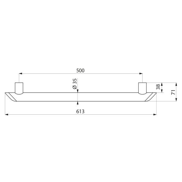Haltegriff Be-Line  D35 L.500 Aluminium weiß
