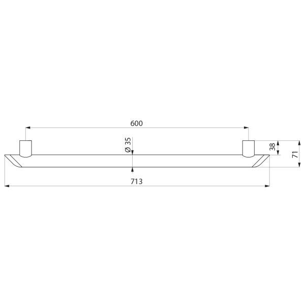 Haltegriff Be-Line  D35 L.600 Aluminium weiß