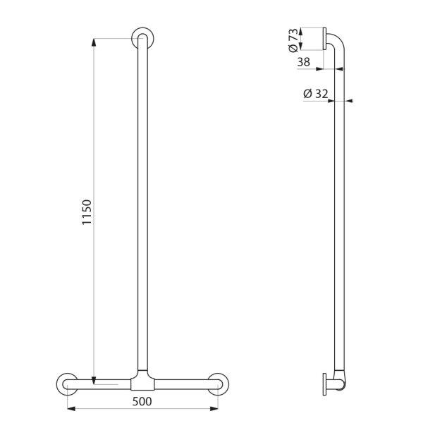 Handlauf T-Form verschiebbar D32 1150x500mm Nylon weiß