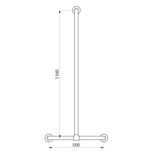 Handlauf T-Form verschiebbar D32 1160x500mm Edst. hgl. pol.