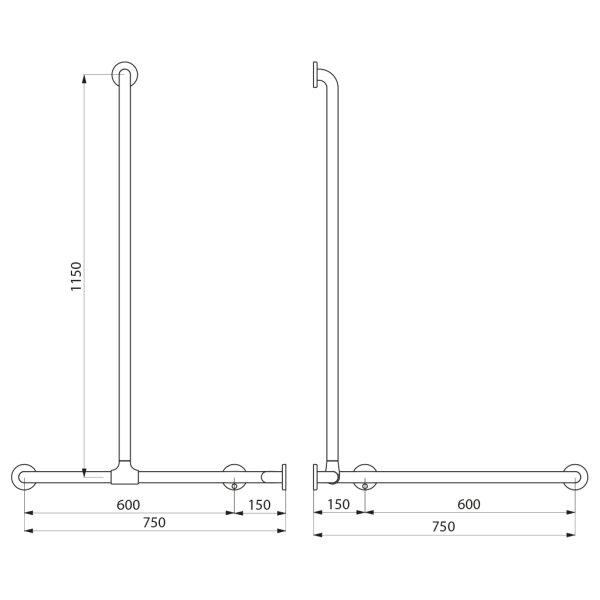 DUHA + Br.H.Stg. vertikal verschiebbar D32 mm Nylon weiß