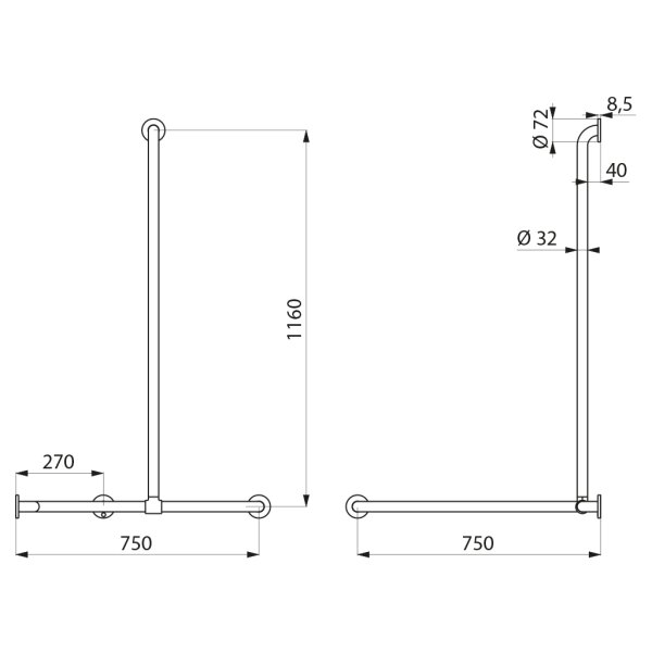 DUHA m. Br.H.Stg. vertikal verschiebbar D32mm Edst. hgl.