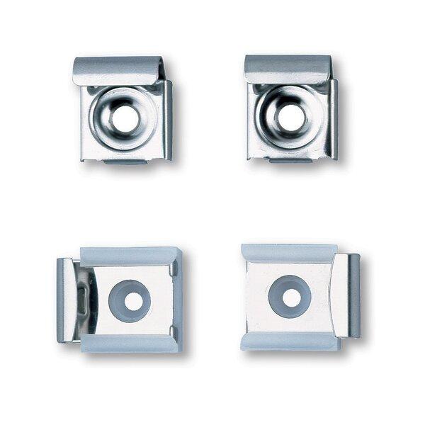 4 Stück Spiegelhalter, davon 2 mit Feder, Edelstahl hochglanzpoliert