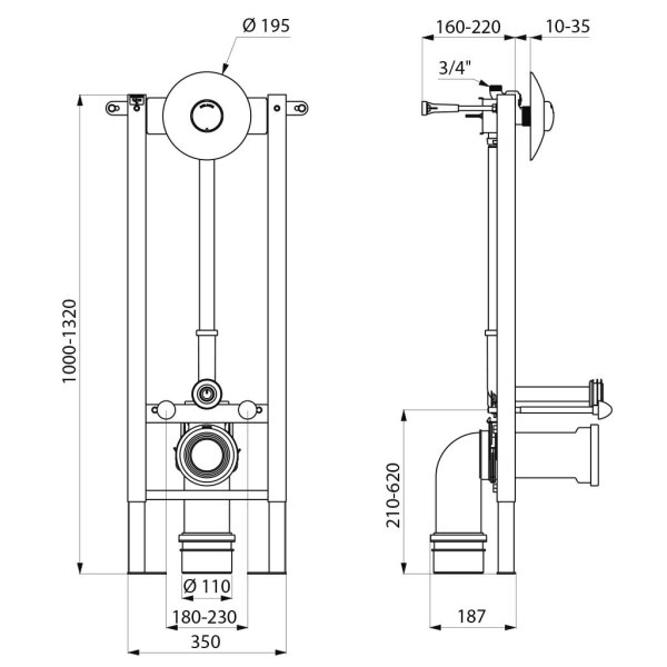 T.FIX3 Inst.Sys WC 10-35 u. 70-130mm D110 Wandhalter Set 1/2