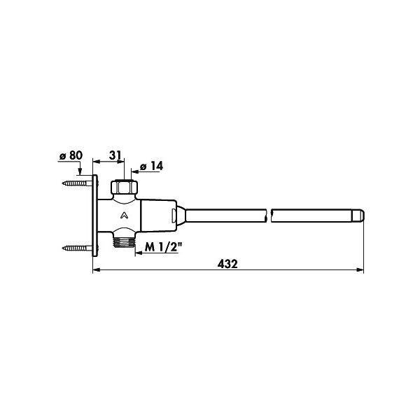 Selbstschluss Ventil TEMPOGENOU Durchgangsform G1/2B Überwurfmutter, Hebel L.350, 7 Sekunden