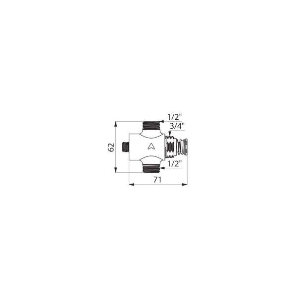 Selbstschlussventil TEMPOSTOP Waschtisch/Dusche G1/2B Unterputz/Hinterwand unverchromt 15 Sekunden