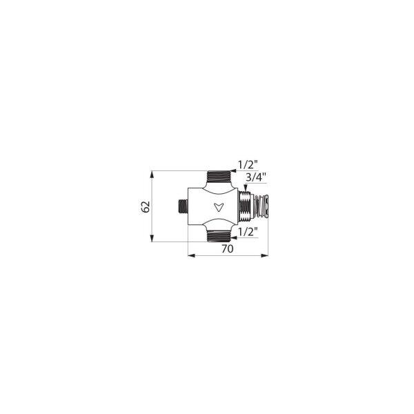 Selbstschlussventil TEMPOSTOP AB Dusche G1/2B Unterputz/Hinterwand unverchromt, 15 Sekunden