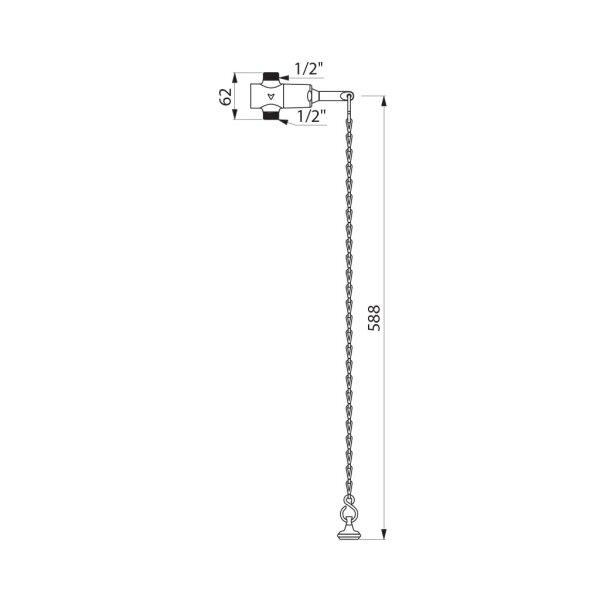 Dusch-Selbstschlussventil TEMPOSTOP G1/2B Kettenbetätigung 15 Sekunden