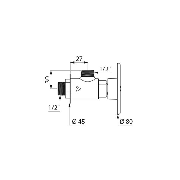 TEMPOSTOP Dusch-Armatur G1/2B Eckvent. Bet-Scheibe Laufzeit 15 Sek.