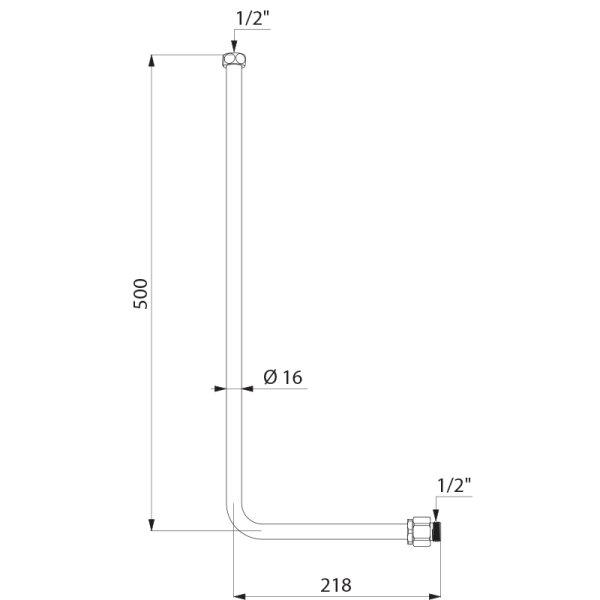 """Spülrohr Unterputz G1/2 für Urinal 1/2"""""""