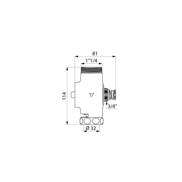 Druckspüler TEMPOCHASSE WC unverchromt G11/4B D32 Unterputz/Hinterwand 7 Sekunden