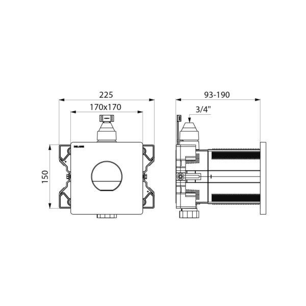 WC-Druckspüler TEMPOFLUX 3,G 3/4,Unterputz AB,verchr, 3l/6l, Set2/2