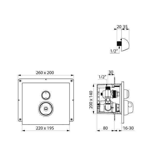 Rohbauset DU-Therm.MBatt.Unterputz wasserdicht - Set 1/2