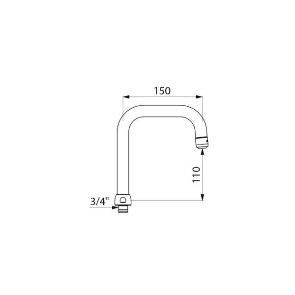 Schwenkauslauf D22 H110mmL150mm, Düse BIOSAFE