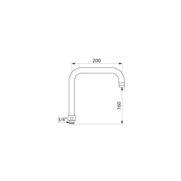 Schwenkauslauf oben D22 H.135 L.200mm Mutter G3/4