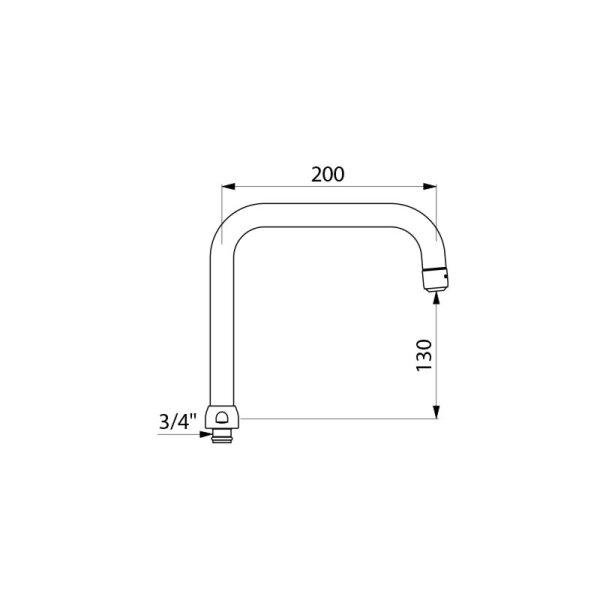 Schwenkauslauf D22 H130 L200mm, Düse BIOSAFE